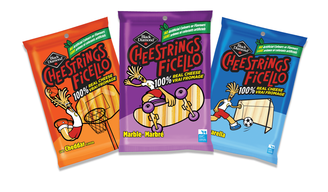 Cheestrings Cheddar, Marble and Mozzarella packages